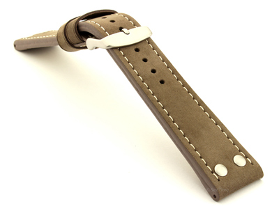 Riveted Suede Leather Watch Strap in Aviator Style Coyote Brown 20mm