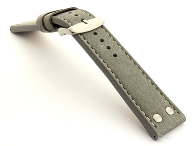 Riveted Suede Leather Watch Strap in Aviator Style Grey 20mm