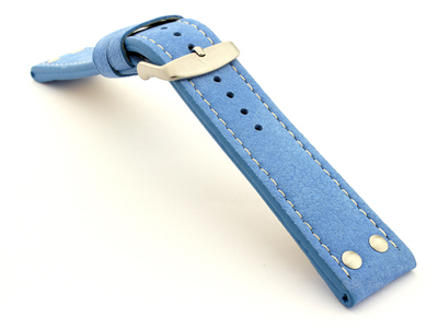 Riveted Suede Leather Watch Strap in Aviator Style Light Blue 02