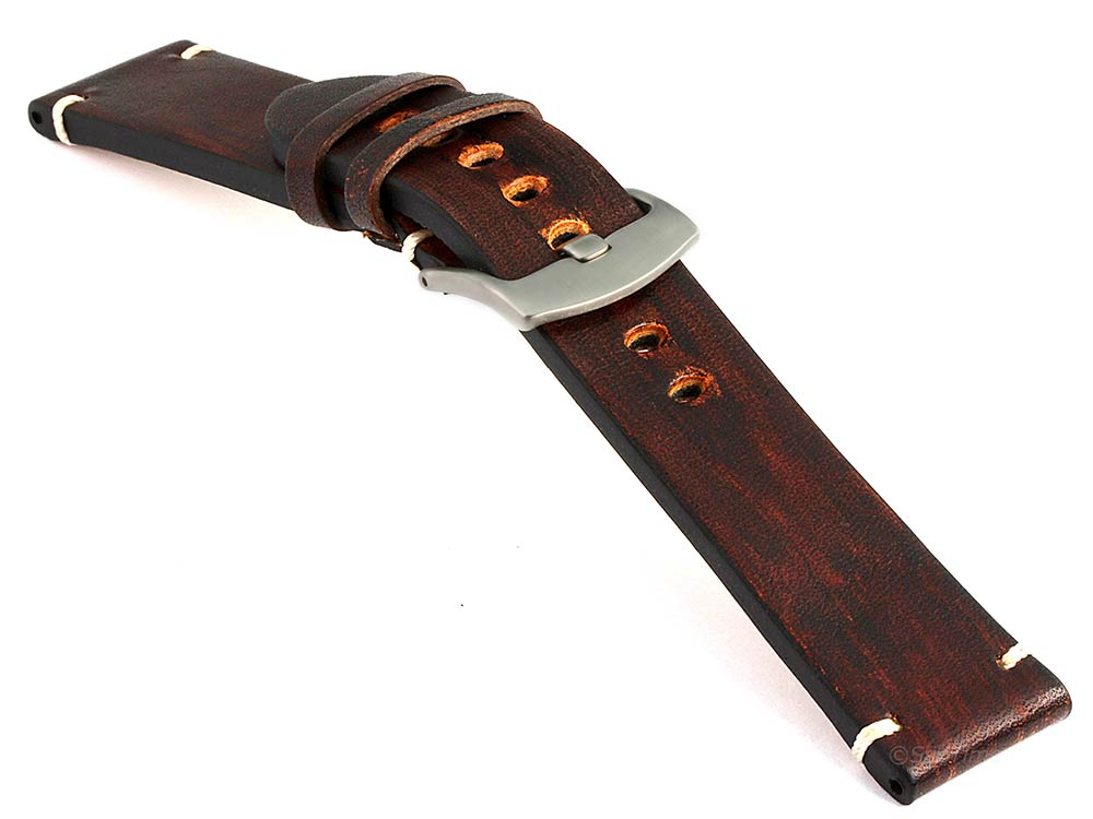 Genuine Leather Watch Strap Band Barcelona Dark Brown 03