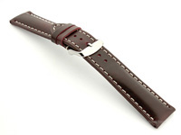Breitling Watch Strap Burgundy with White Stitching BIO 02