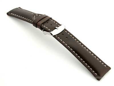 Breitling Watch Strap Dark Brown with White Stitching BIO 02