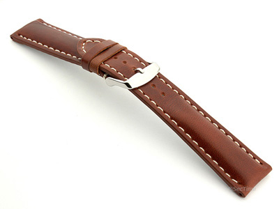 Breitling Watch Strap Rudy Brown with White Stitching BIO 02