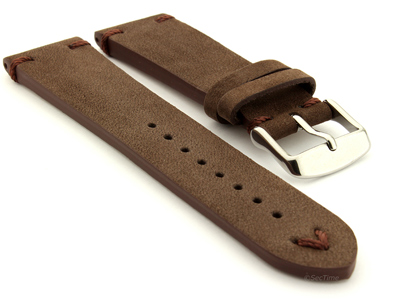 Suede Leather Retro Style Watch Strap Blacksmith Plus Dark Brown 01