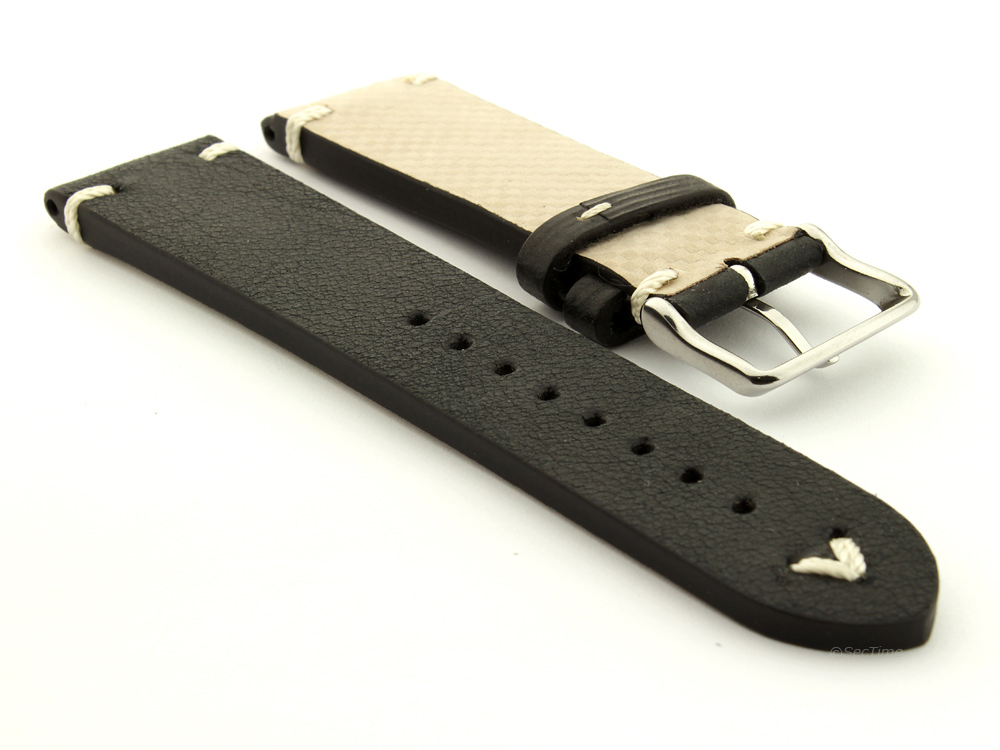 Genuine Leather Vintage Style Watch Strap Blacksmith Black 02