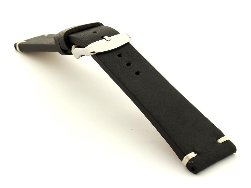 Genuine Leather Vintage Style Watch Strap Blacksmith Black 03