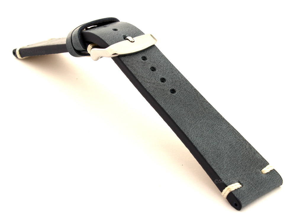 Genuine Leather Vintage Style Watch Strap Blacksmith Blue 03