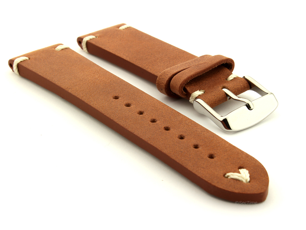 Genuine Leather Vintage Style Watch Strap Blacksmith Brown 01
