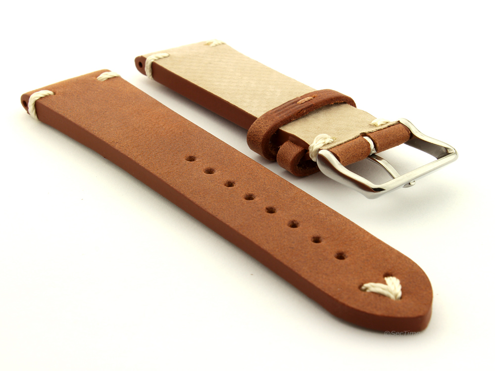 Genuine Leather Vintage Style Watch Strap Blacksmith Brown 02