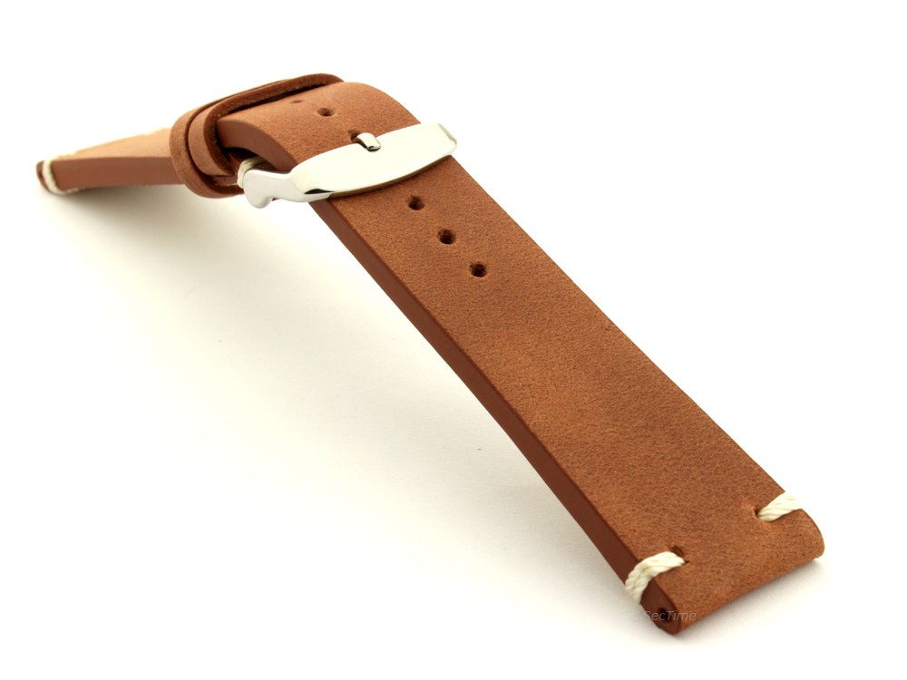 Genuine Leather Vintage Style Watch Strap Blacksmith Brown 03