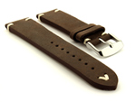 Genuine Leather Vintage Style Watch Strap Blacksmith Dark Brown 22mm