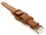 Bund Watch Strap, Leather, Wrist Pad Brown 20mm