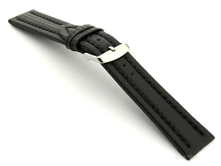 Carbon Fibre Watch Strap Black with Black Stitching 12
