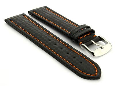 CARBON FIBRE EFFECT LEATHER WATCH STRAP WATERPROOF Black/Orange 20mm
