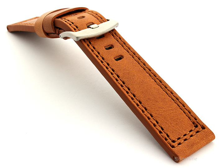 Panerai Style Waterproof Leather Watch Strap Brown Constantine 02 02