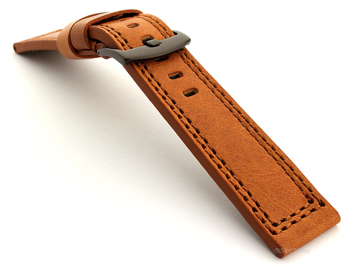 Panerai Style Waterproof Leather Watch Strap Brown Constantine 07 03