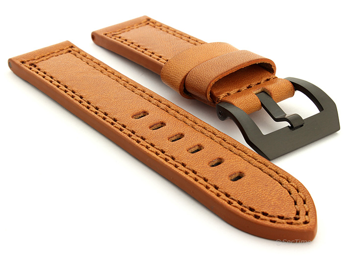 Panerai Style Waterproof Leather Watch Strap Brown Constantine 07 04