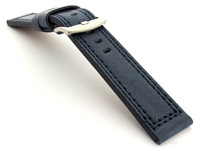 Panerai Style Waterpoof Leather Watch Strap CONSTANTINE Blue 22mm