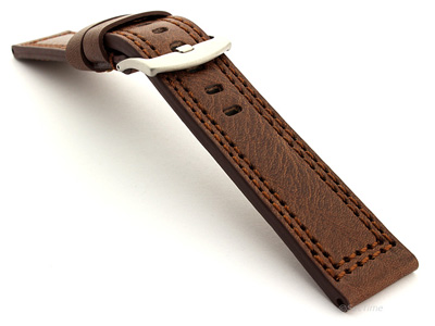 Panerai Style Waterpoof Leather Watch Strap CONSTANTINE Dark Brown 22mm
