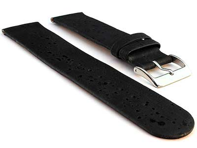 Real Cork Watch Strap Band Vegan Black 16mm