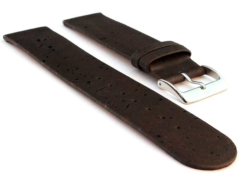 Real Cork Watch Strap Band Vegan Dark Brown 01