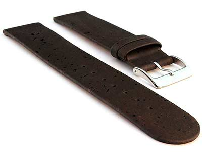 Real Cork Watch Strap Band Vegan Dark Brown 16mm