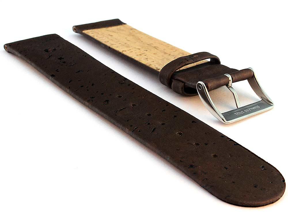 Real Cork Watch Strap Band Vegan Dark Brown 02