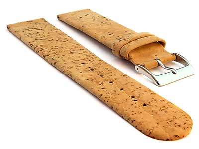 Real Cork Watch Strap Band Vegan Brown 18mm