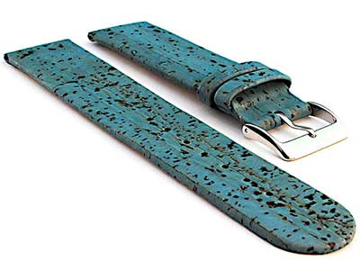 Real Cork Watch Strap Band Vegan Blue 18mm