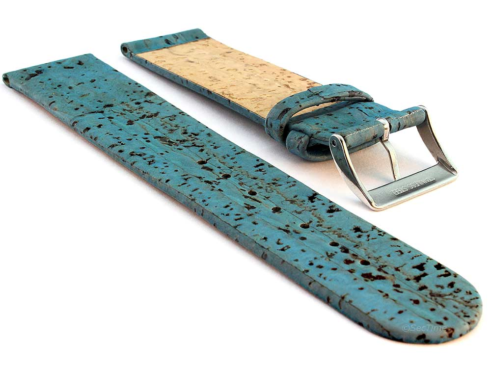 Real Cork Watch Strap Band Vegan Blue 02