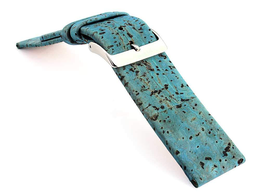 Real Cork Watch Strap Band Vegan Blue 03