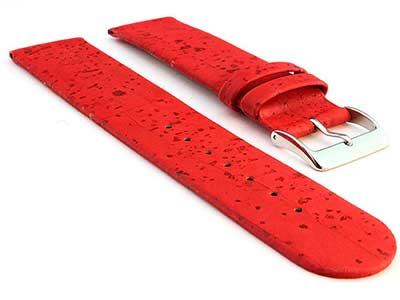 Real Cork Watch Strap Band Vegan Red 16mm