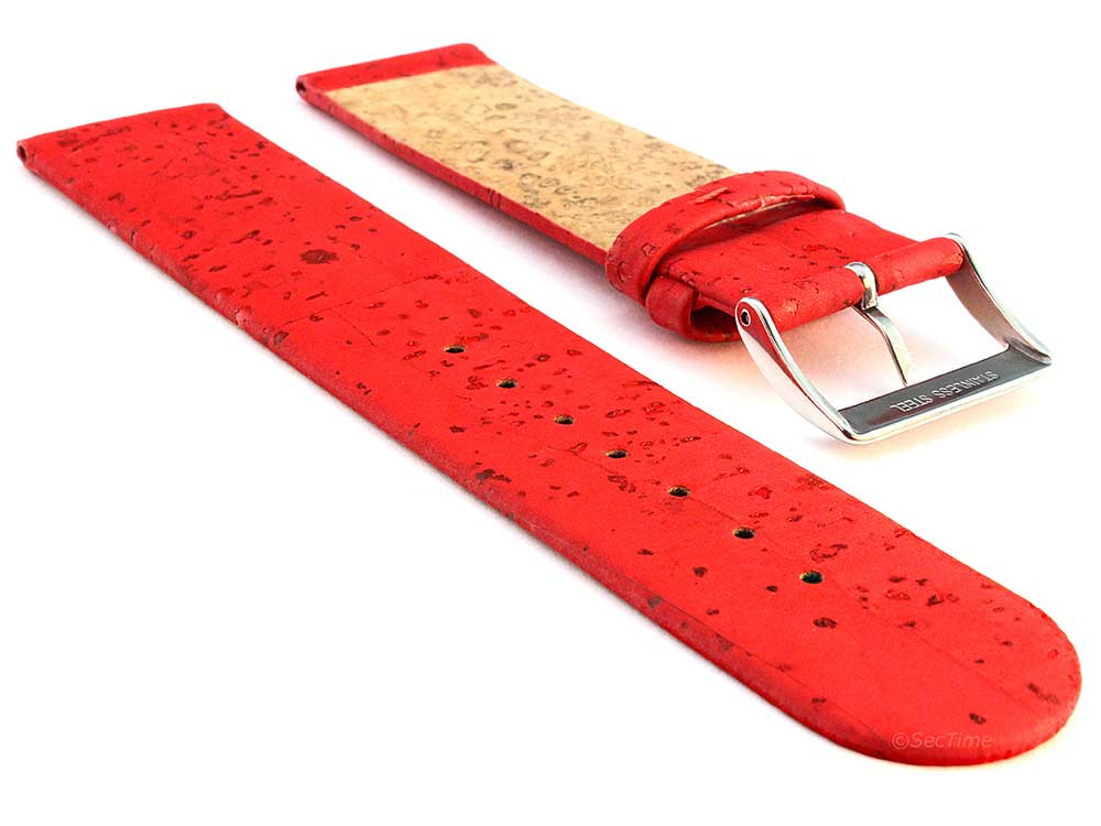 Real Cork Watch Strap Band Vegan Red 02