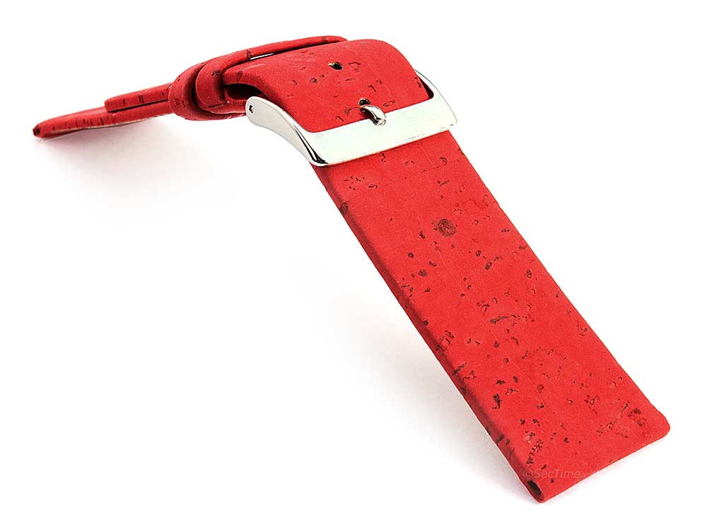 Real Cork Watch Strap Band Vegan Red 03
