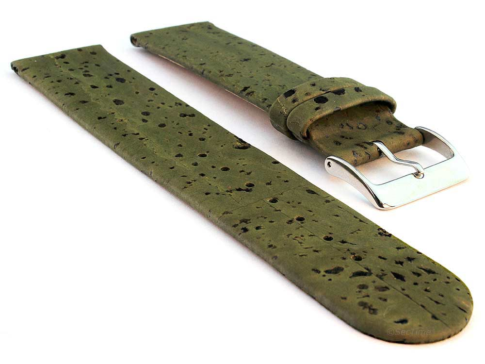 Real Cork Watch Strap Band Vegan Olive Green 01