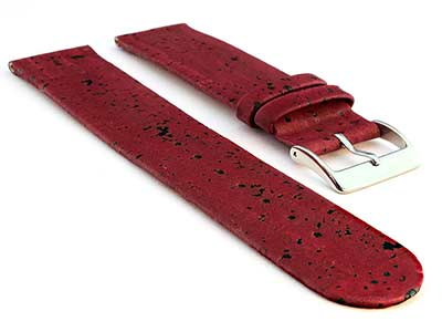 Real Cork Watch Strap Band Vegan Maroon 16mm