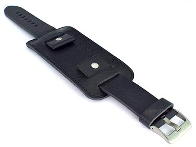 Genuine Leather Watch Strap Band with Cuff Crimea Black 01