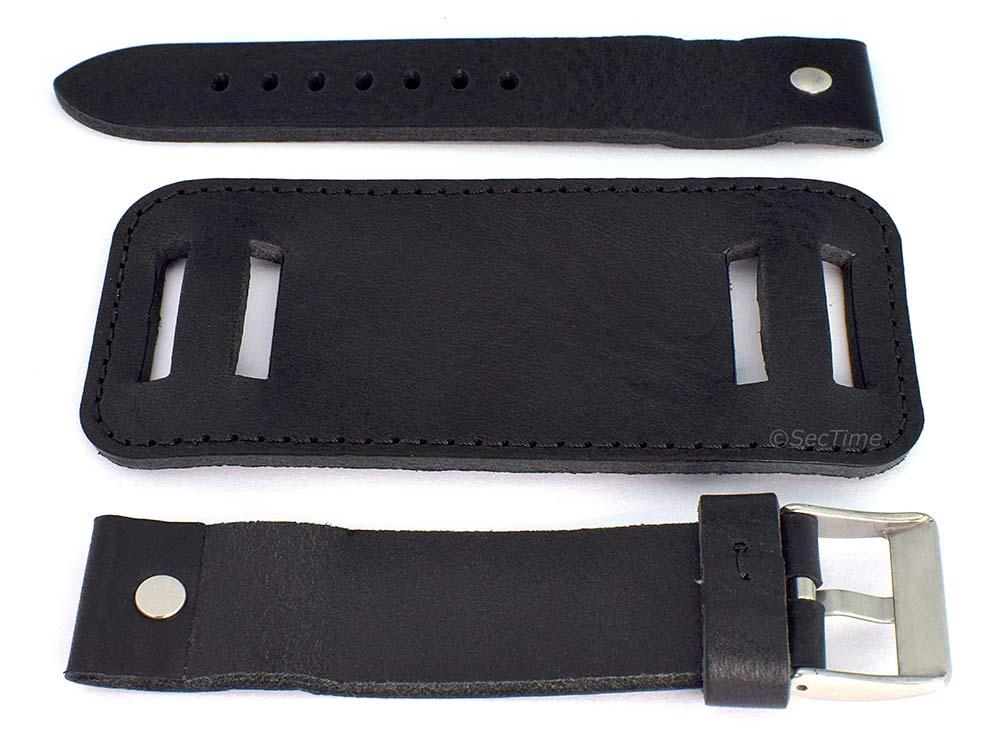 Genuine Leather Watch Strap Band with Cuff Crimea  Black 02