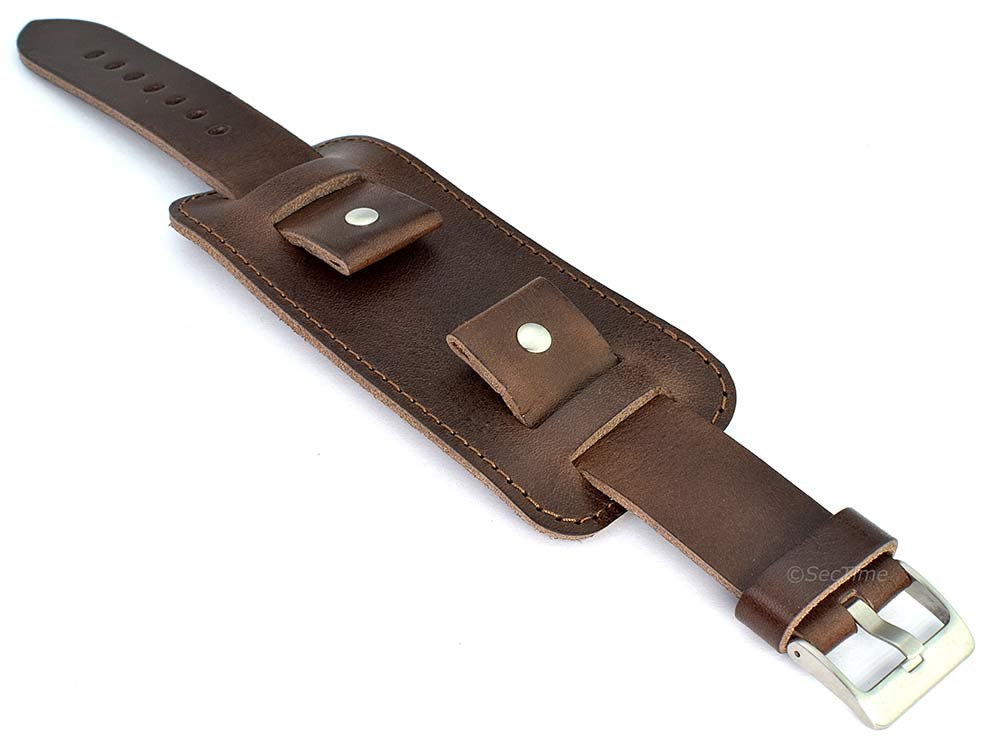 Genuine Leather Watch Strap Band with Cuff Crimea Dark Brown 20mm
