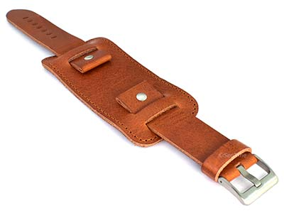 Genuine Leather Watch Strap Band with Cuff Crimea Brown 24mm