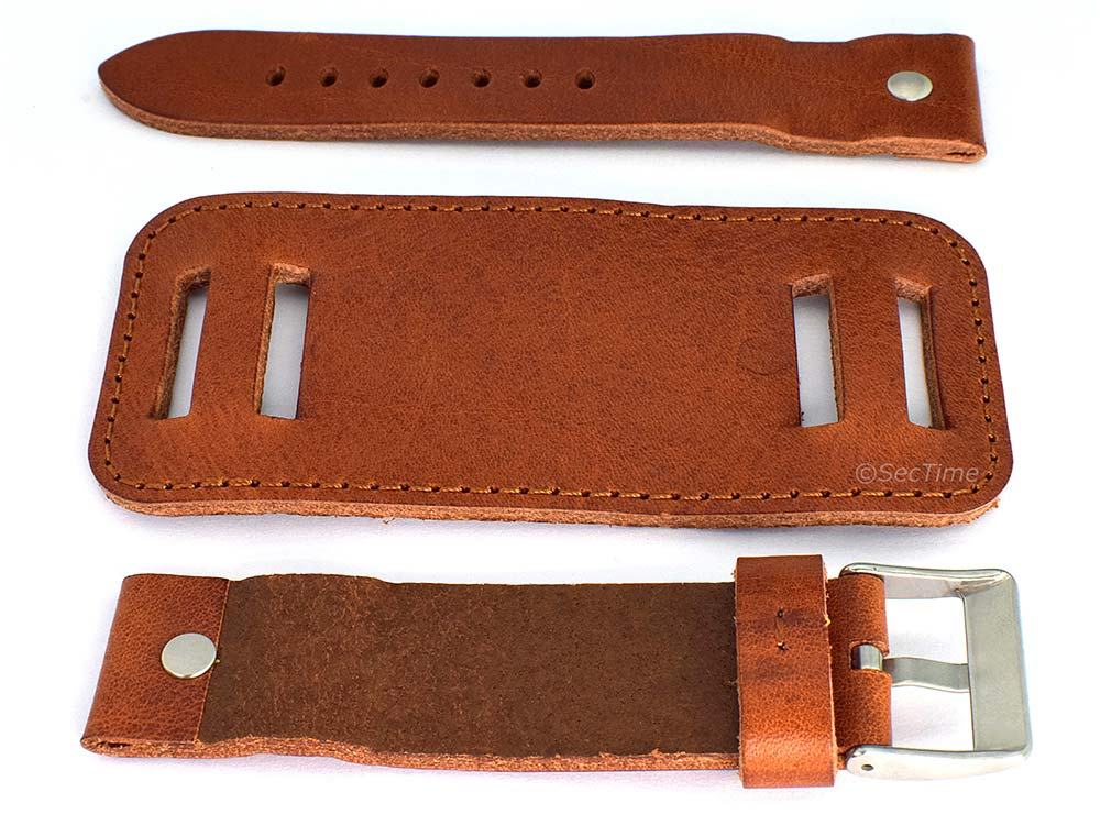 Genuine Leather Watch Strap Band with Cuff Crimea  Brown 02