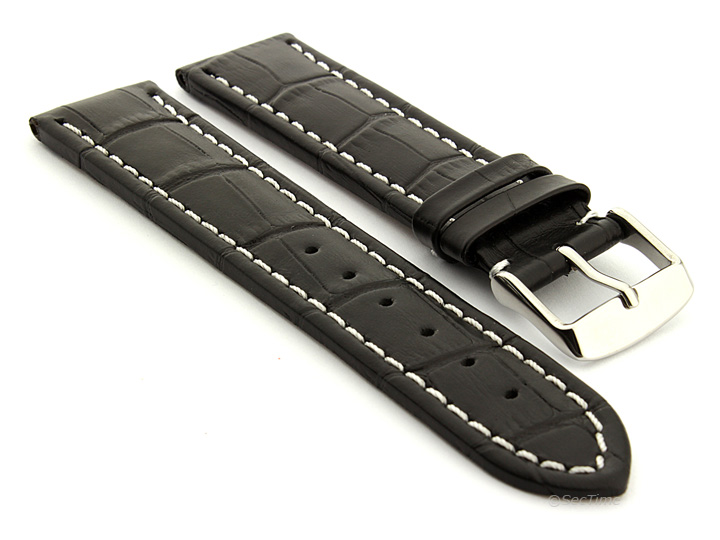 Extra Long Watch Strap Black with White Stitching Croco 01