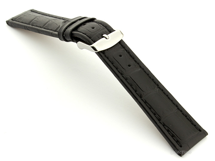 Extra Long Watch Strap Black with Black Stitching Croco 02