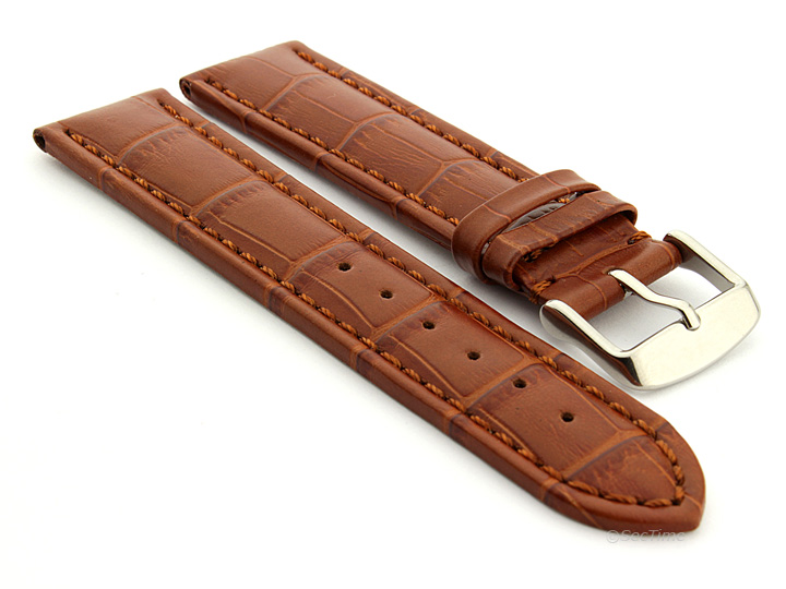 Extra Long Watch Strap Brown with Brown Stitching Croco 01