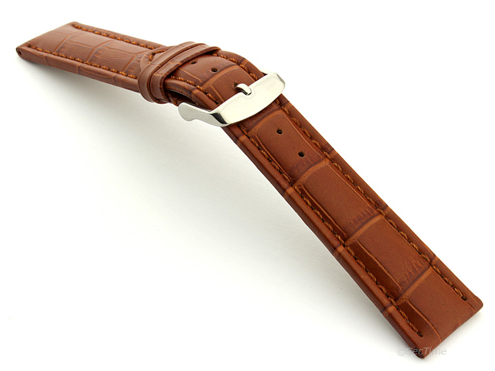 Extra Long Watch Strap Brown with Brown Stitching Croco 02
