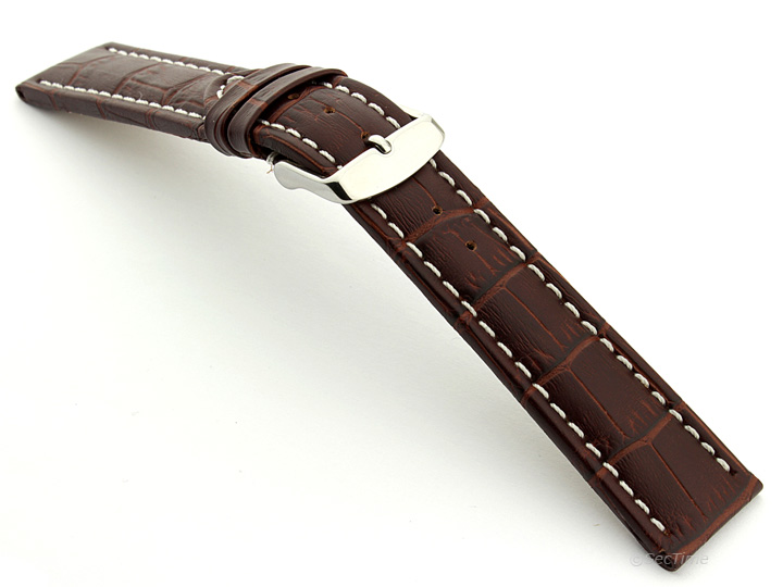 Extra Long Watch Strap Dark Brown with White Stitching Croco 02
