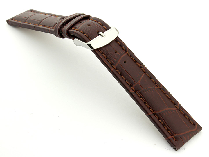 Extra Long Watch Strap Dark Brown with Brown Stitching Croco 02