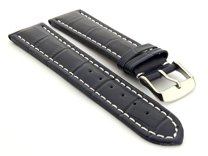 Extra Long Watch Strap Navy Blue with White Stitching Croco 01