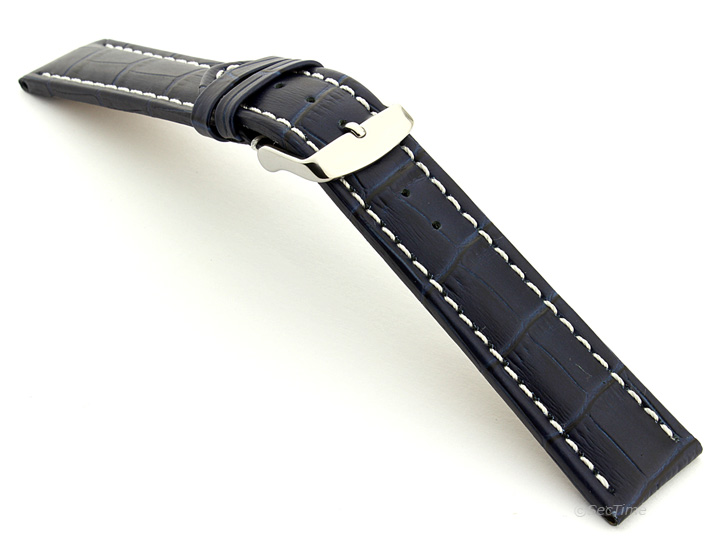 Extra Long Watch Strap Navy Blue with White Stitching Croco 02