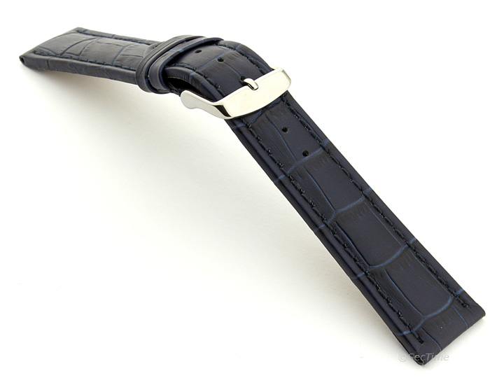 Extra Long Watch Strap Navy Blue with Blue Stitching Croco 02